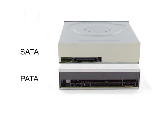Picture of the rear sides of a SATA drive and a PATA drive showing the fifference in the connectors