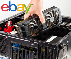 Video card being inserted into computer case with eBay logo in top left corner
