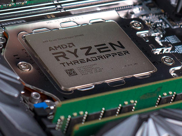 Close up of an AMD Ryzen Thread Ripper processor