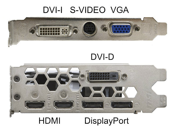 Common video inputs and outputs