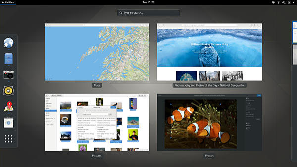 Screen shot of the Gnome 3 desktop running on Fedora Linux